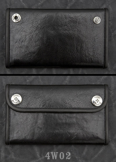 Large 3-Fold  Shiny Black Cow Hide Wallet 4W02