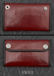 Large 3-Fold  Red Cow Hide Wallet 4W03