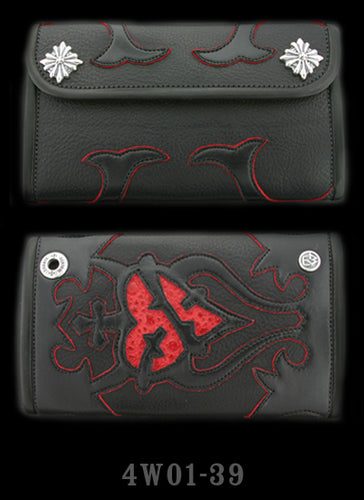 Large 3-Fold Cow Hide Wallet with Full Tribal Heart Graphics with Red Frog Inlay