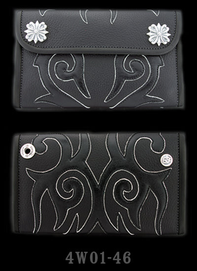 Large 3-Fold - Black leather Wallet Full Tribal Graphics