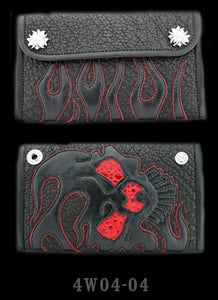 Large 3-Fold Shark Wallet with Full Flamed Skull Graphics with Red Frog Inlay