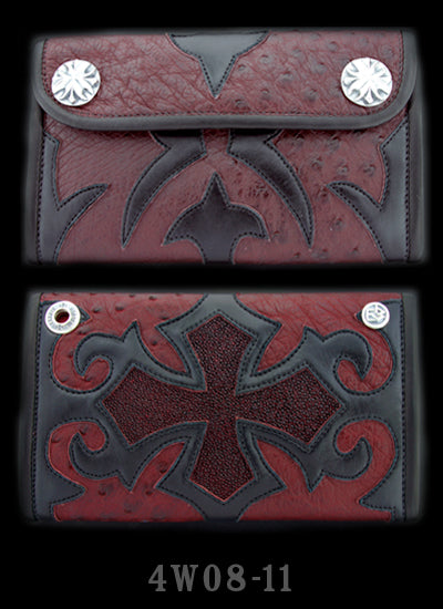 Large 3-Fold Ostrich Wallet Full Tribal Cross Graphics with Red Stingray Inlay