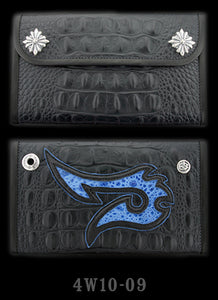 Large 3-Fold Faux Alligator Wallet with  Leather Fish Hook Graphics with Blue Frog Inlay and Blue Suede Trim