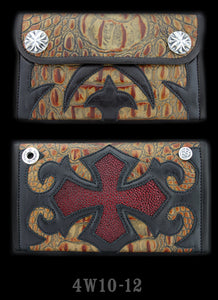 Large 3-Fold Faux Alligator Skin Wallet with Burgundy Stingray Inlay - Full Tribal Cross Graphic