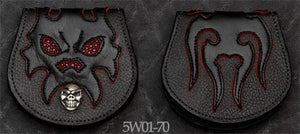 Black Leather Coin Purse w/ Skull Graphics, Burgundy Stingray Inlay and Burgundy Suede Trim