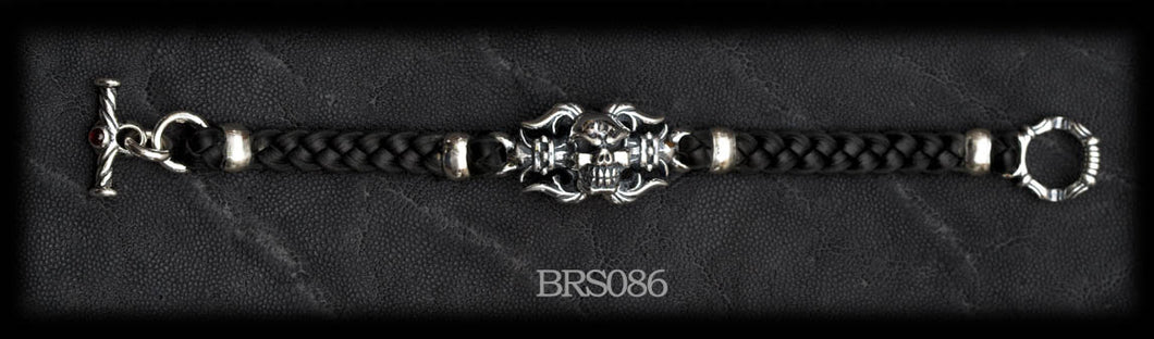 Fleur-de-lis Chomps Braided Leather Bracelet