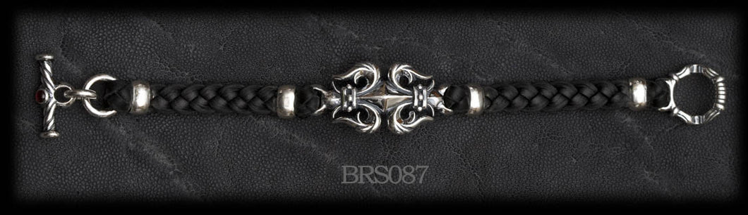 Fleur-de-lis Braided Leather Bracelet