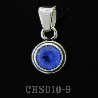 Teardrop Charm with Stone- Synthetic Blue Sapphire