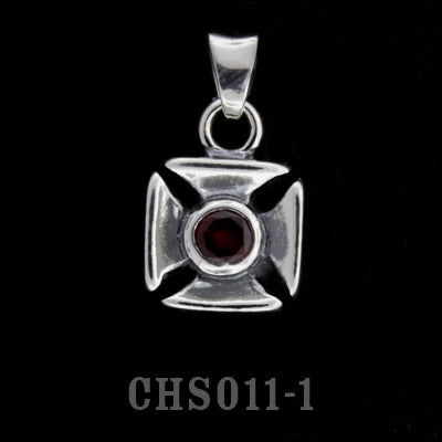 Double Cross Charm with Stone- Synthetic Garnet
