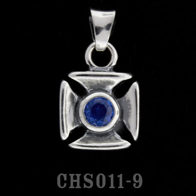 Double Cross Charm with Stone- Synthetic Blue Sapphire