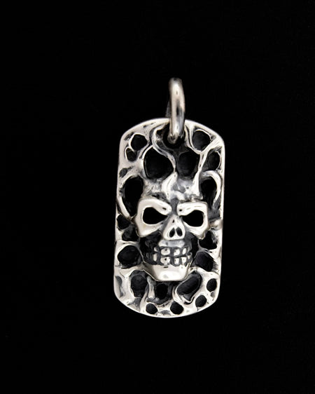 Melting Skull Dog Tag