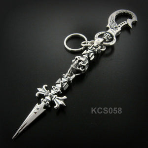 Winged Clip- Lil' G Cross Skull w/Double Cross Dagger