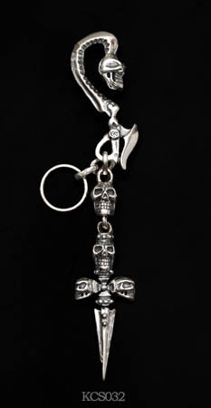 Skull and Hook Crossed Skulls Dagger Key Chain