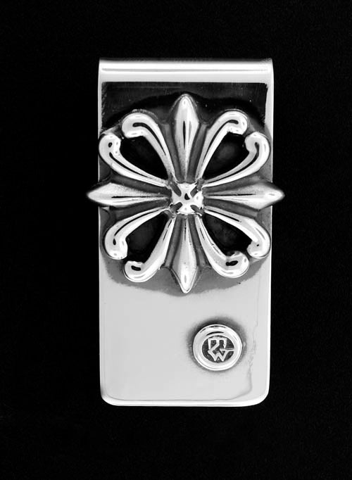 Sterling Silver Money Clip with Regal Cross