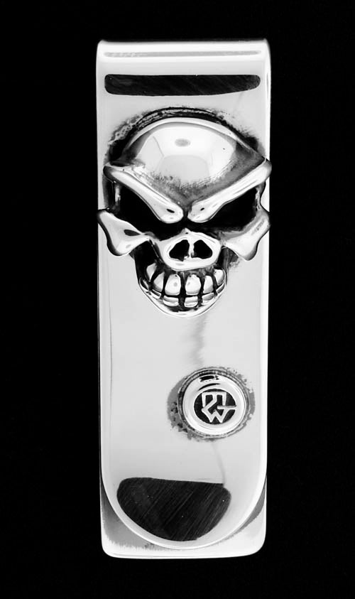 Sterling Silver Money Clip with Speed Skull