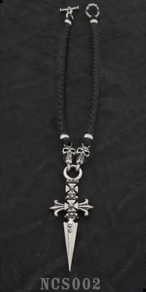 Cross Dagger with 2 Skulls with Braided Leather Necklace