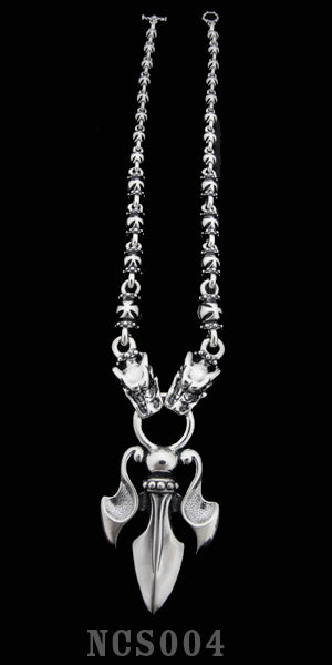 The Trident with 2 Gargoyles with Integrated Royal Cross Links Necklace