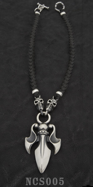 The Trident with 2 Skulls with Braided Leather Necklace