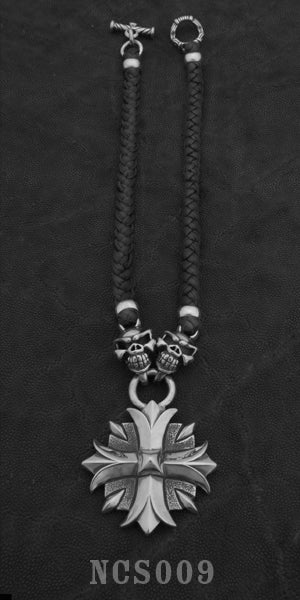 Large Valor Cross with 2 Speed Skulls with Braided Leather Necklace