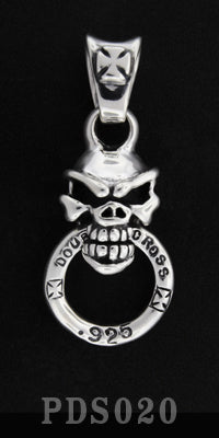 Biting Speed Skull Pendant with Cross Bale and Double Cross Ring