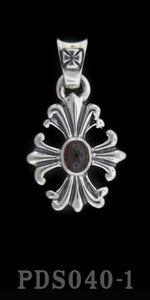 "Cross with Garnet ""Old School"" Pendant"