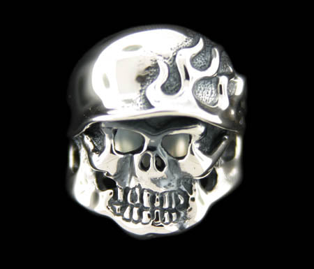 Flamed Helmet Skull Ring RGS010