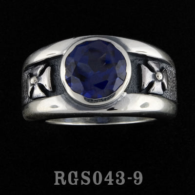 Double Cross Ring with Blue Sapphire RGS043-09