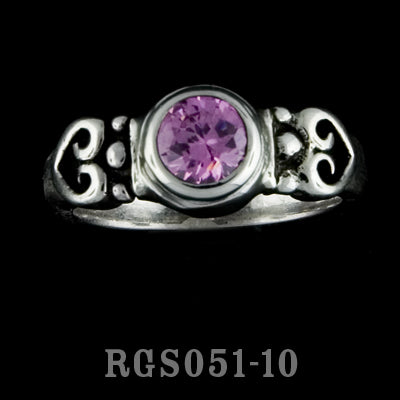 2 Hearts Ring with Stone RGS051