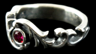 Scroll Ring with Synthetic Stone RGS091-S