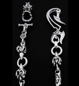 Thunder Hook with 3 Gargoyle DC Ring and Meat Links Wallet Chain