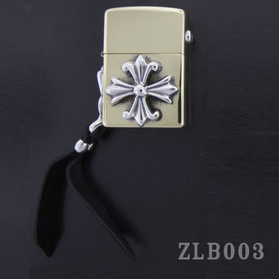 Brass Zippo Lighter with Cross and Side Plate with Leather Handle