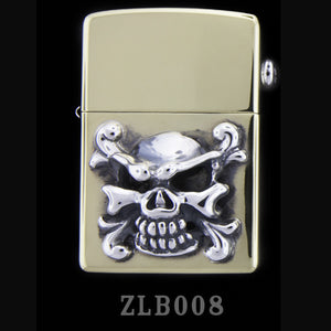 Brass Zippo Lighter with Poison Skull
