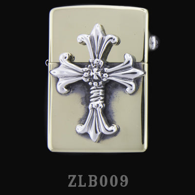 Brass Zippo Lighter with Double Cross