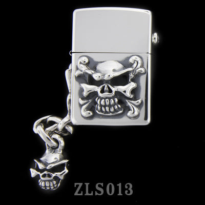 Silver Zippo Lighter with Poison and Speed Skull Handle