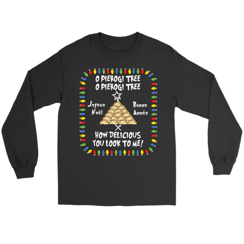 French Pierogi Tree Christmas Holiday Gildan Long Sleeve Holiday Clothing