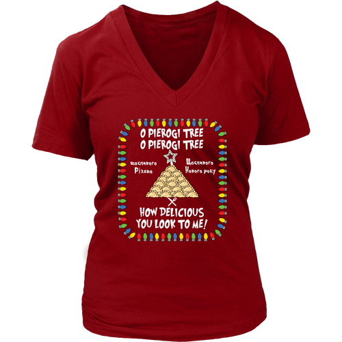 Ukrainian Pierogi Tree Holiday Womens V-Neck Holiday Clothing
