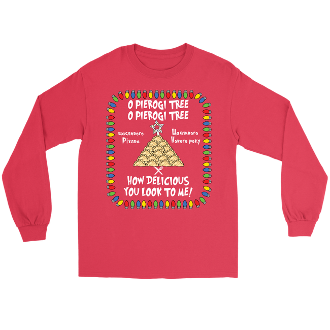 Ukrainian Pierogi Tree Christmas Holiday Long Sleeve Tee Holiday Clothing