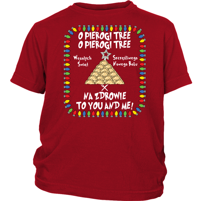 Na Zdrowie Pierogi Tree Holiday Christmas District Youth Shirt Holiday Clothing
