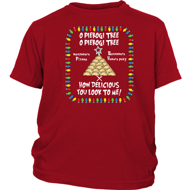 Ukrainian Pierogi Tree Christmas Youth Shirt Holiday Clothing