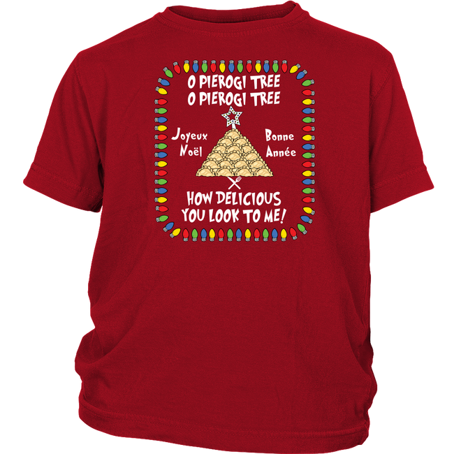 French Pierogi Tree Christmas Holiday Youth Shirt Holiday Clothing
