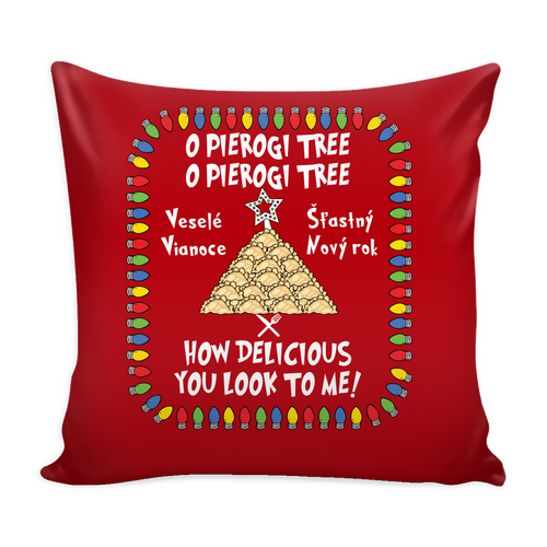 Slovak Pierogi Tree Festive Holiday Pillow Cover Holiday Clothing