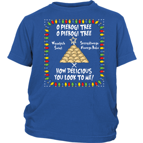 Polish Pierogi Tree Ugly Christmas  Youth Shirt Holiday Clothing