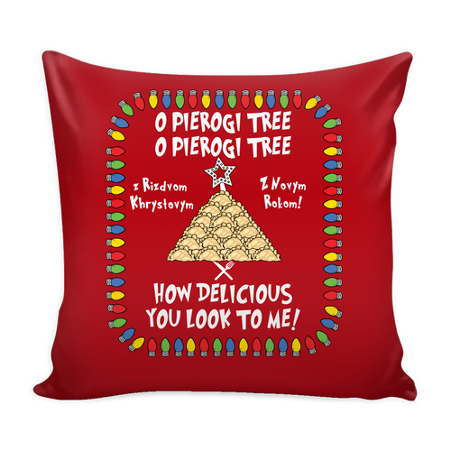 Ukrainian Pierogi Tree Holiday Pillow Cover Holiday Clothing