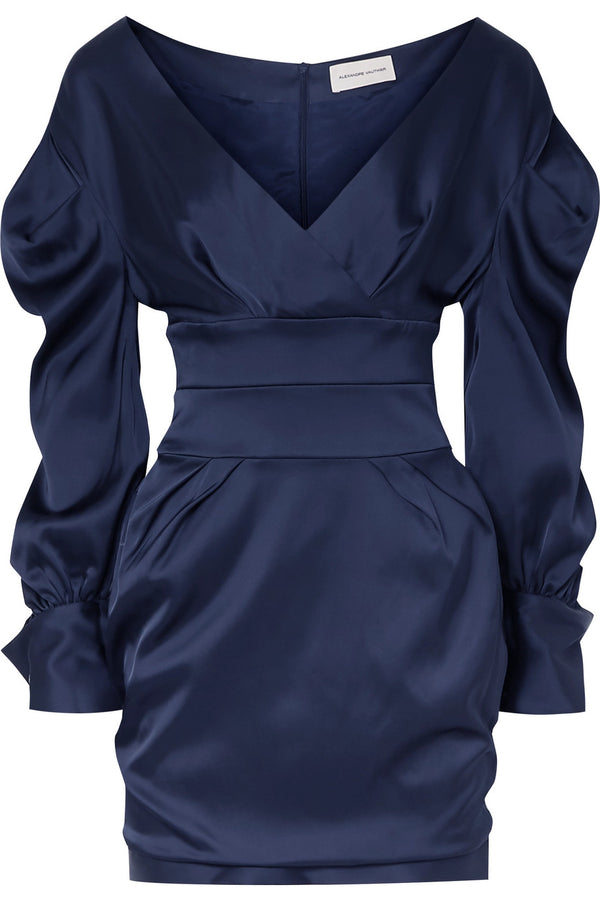Alexandre Vauthier Long Sleeve Off the Shoulder Satin Mini Dress
