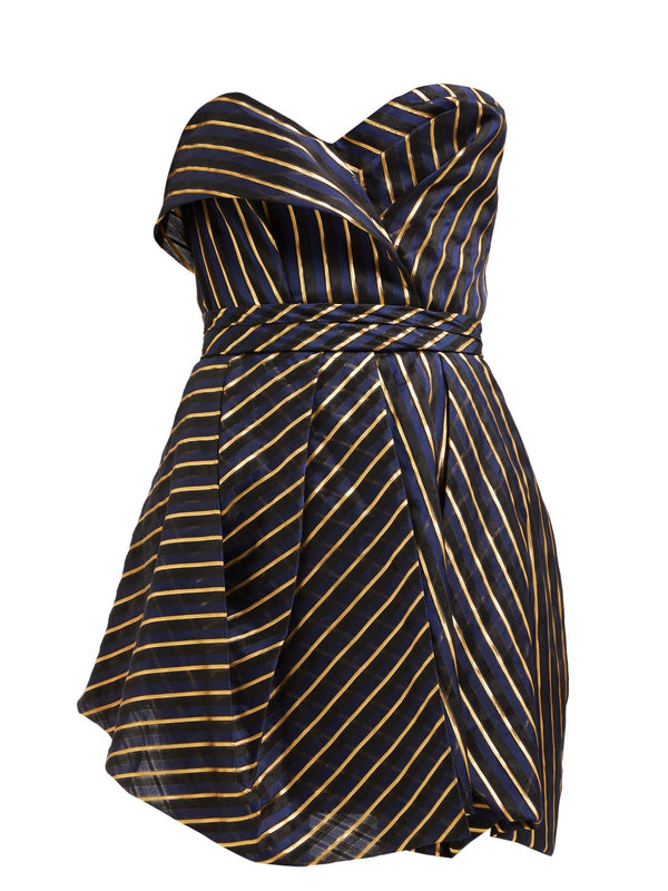 Alexandre Vauthier Striped Strapless Mini Dress