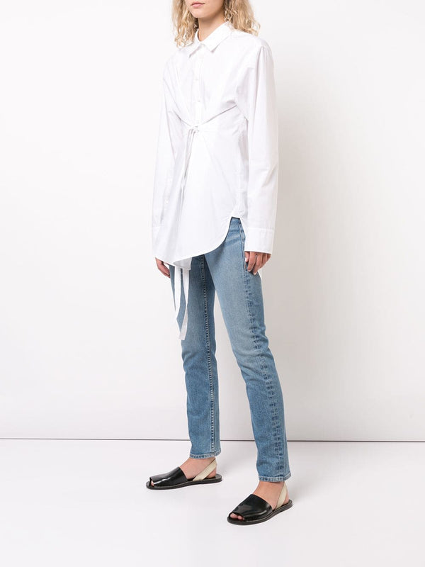Proenza Schouler White Label Long Sleeve Button Down Poplin Shirt W/Tie