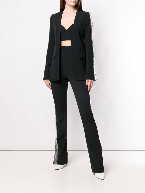 David Koma Contrast Side Sequin Panel Trousers
