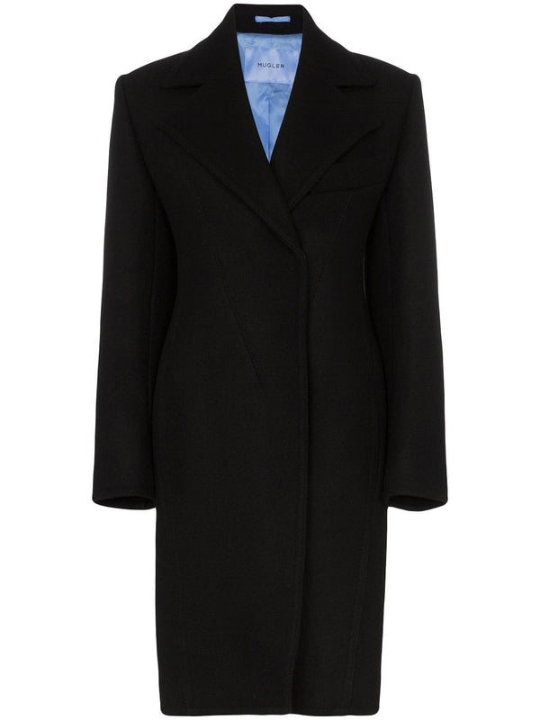 Mugler Wool Black Coat