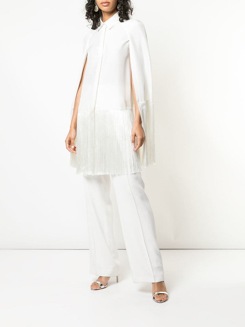Alberta Ferretti Cape Sleeve Button Down w/Fringe
