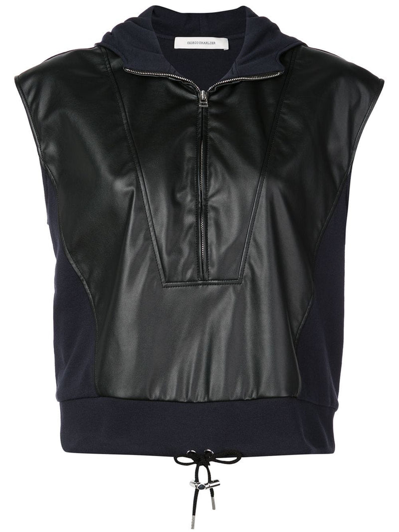 Cedric Charlier Leather Sweatshirt